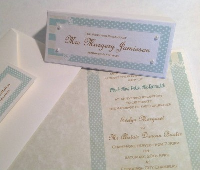 Dots and Stripes. Invitation insert, envelope with seal and place card.