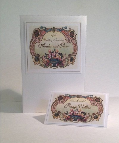 Cherubs. Invitation and place card.