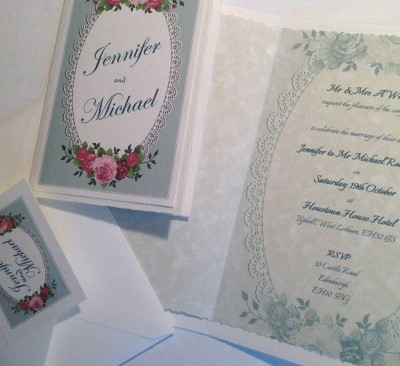 Vintage Roses. Invitation insert and matching envelope with seal.