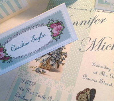 Butterflies. Invitation single card and vintage roses place card.