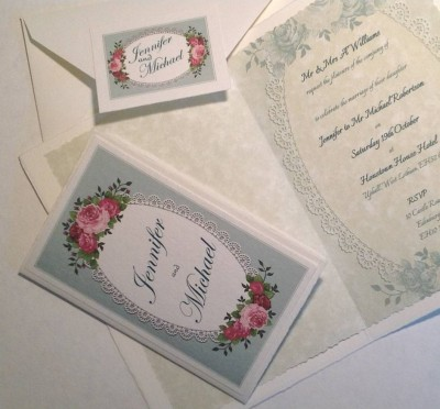 Vintage Roses. Invitation insert and matching envelope.