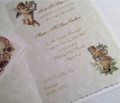 Cherubs. Invitation insert and matching place card.