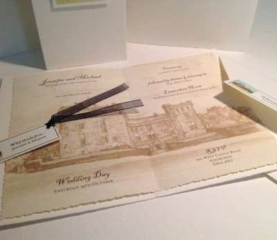 Lennoxlove House, Haddington. Wedding invitation insert, envelope with  seal and thank you label.