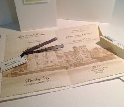 Lennoxlove House, Haddington. Wedding invitation insert, envelope with  seal and thank you label.