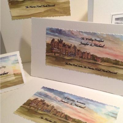 Marine, North Berwick. Menu, landscape style with matching place card.