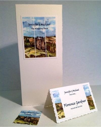 Neidpath Castle, Scottish Borders. Menu and place card.