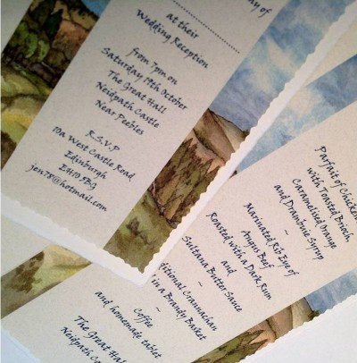 Neidpath Castle, Scottish Borders. Invitation and menu inserts.