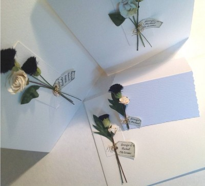 Thistle and Rose. Invitation and decorated envelope, order of service  and place card