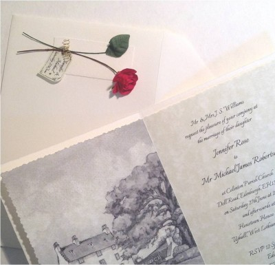Red Rose. Invitation insert and decorated envelope.