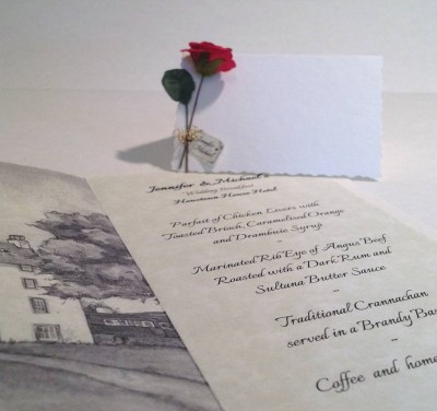 Red Rose. Menu insert and place card.