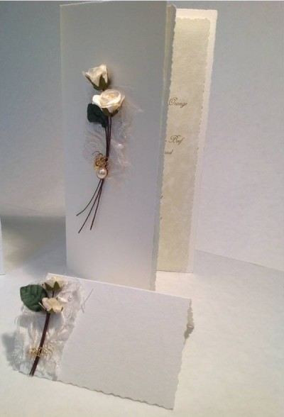 Cream Rose. Menu and place card.