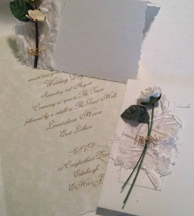 Cream Rose. Invitation insert, matching envelope and place card.