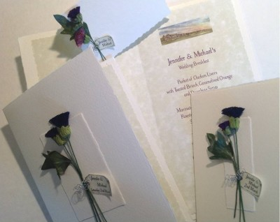 Two Thistles. Invitation, day and evening reception, menu insert with  artwork and place card.